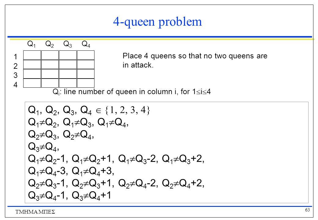63 ΤΜΗΜΑ ΜΠΕΣ 4-queen problem Place 4 queens so that no two queens are in attack.