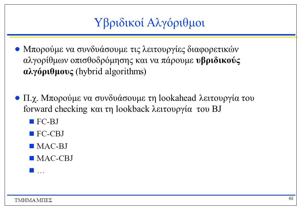 68 ΤΜΗΜΑ ΜΠΕΣ Υβριδικοί Αλγόριθμοι Μπορούμε να συνδυάσουμε τις λειτουργίες διαφορετικών αλγορίθμων οπισθοδρόμησης και να πάρουμε υβριδικούς αλγόριθμους (hybrid algorithms) Π.χ.