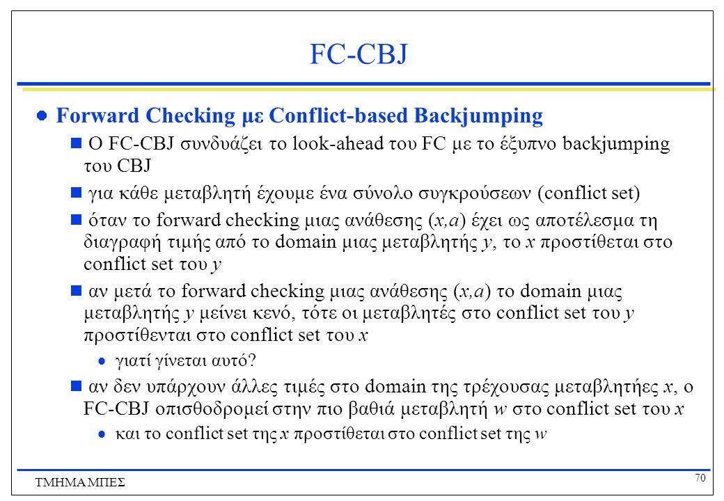 70 ΤΜΗΜΑ ΜΠΕΣ FC-CBJ Forward Checking με Conflict-based Backjumping  Ο FC-CBJ συνδυάζει το look-ahead του FC με το έξυπνο backjumping του CBJ  για κάθε μεταβλητή έχουμε ένα σύνολο συγκρούσεων (conflict set)  όταν το forward checking μιας ανάθεσης (x,a) έχει ως αποτέλεσμα τη διαγραφή τιμής από το domain μιας μεταβλητής y, το x προστίθεται στο conflict set του y  αν μετά το forward checking μιας ανάθεσης (x,a) το domain μιας μεταβλητής y μείνει κενό, τότε οι μεταβλητές στο conflict set του y προστίθενται στο conflict set του x  γιατί γίνεται αυτό.