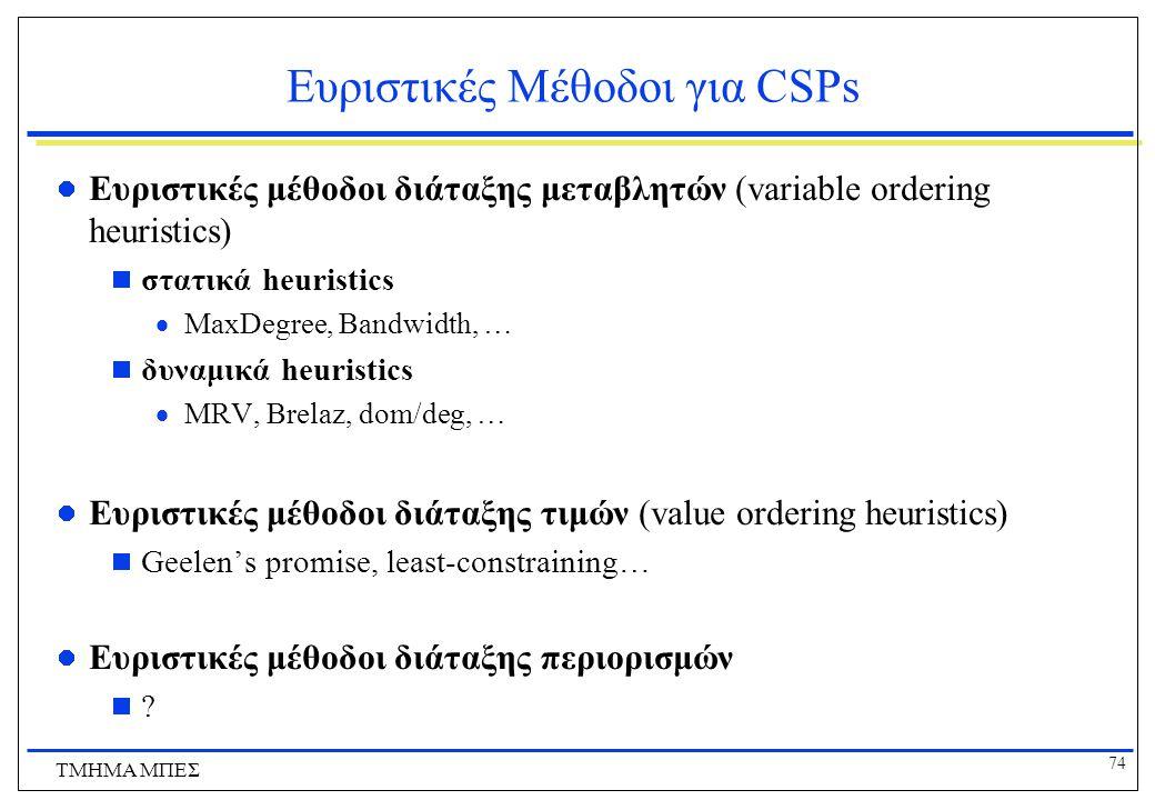 74 ΤΜΗΜΑ ΜΠΕΣ Ευριστικές Μέθοδοι για CSPs Ευριστικές μέθοδοι διάταξης μεταβλητών (variable ordering heuristics)  στατικά heuristics  MaxDegree, Bandwidth, …  δυναμικά heuristics  MRV, Brelaz, dom/deg, … Ευριστικές μέθοδοι διάταξης τιμών (value ordering heuristics)  Geelen's promise, least-constraining… Ευριστικές μέθοδοι διάταξης περιορισμών  ?