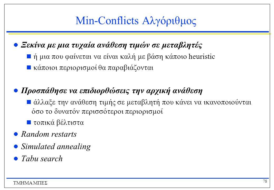 78 ΤΜΗΜΑ ΜΠΕΣ Min-Conflicts Αλγόριθμος Ξεκίνα με μια τυχαία ανάθεση τιμών σε μεταβλητές  ή μια που φαίνεται να είναι καλή με βάση κάποιο heuristic 