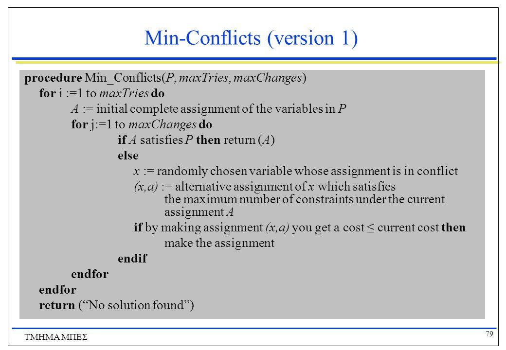 79 ΤΜΗΜΑ ΜΠΕΣ Min-Conflicts (version 1) procedure Min_Conflicts(P, maxTries, maxChanges) for i :=1 to maxTries do A := initial complete assignment of the variables in P for j:=1 to maxChanges do if A satisfies P then return (A) else x := randomly chosen variable whose assignment is in conflict (x,a) := alternative assignment of x which satisfies the maximum number of constraints under the current assignment A if by making assignment (x,a) you get a cost ≤ current cost then make the assignment endif endfor return ( No solution found )