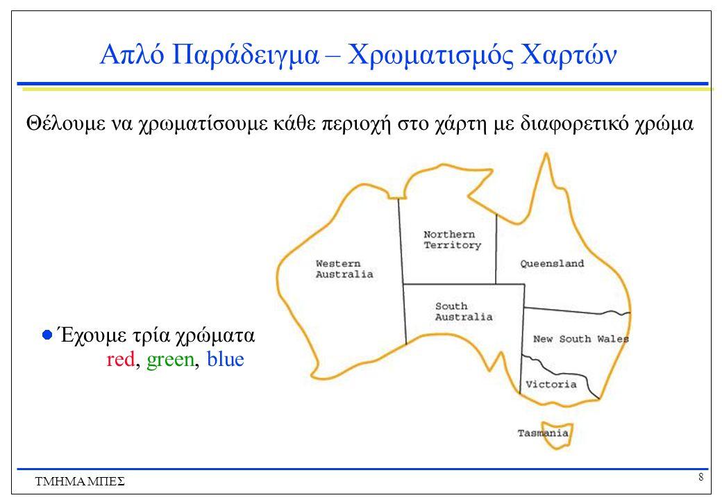 8 ΤΜΗΜΑ ΜΠΕΣ Απλό Παράδειγμα – Χρωματισμός Χαρτών Θέλουμε να χρωματίσουμε κάθε περιοχή στο χάρτη με διαφορετικό χρώμα Έχουμε τρία χρώματα red, green,