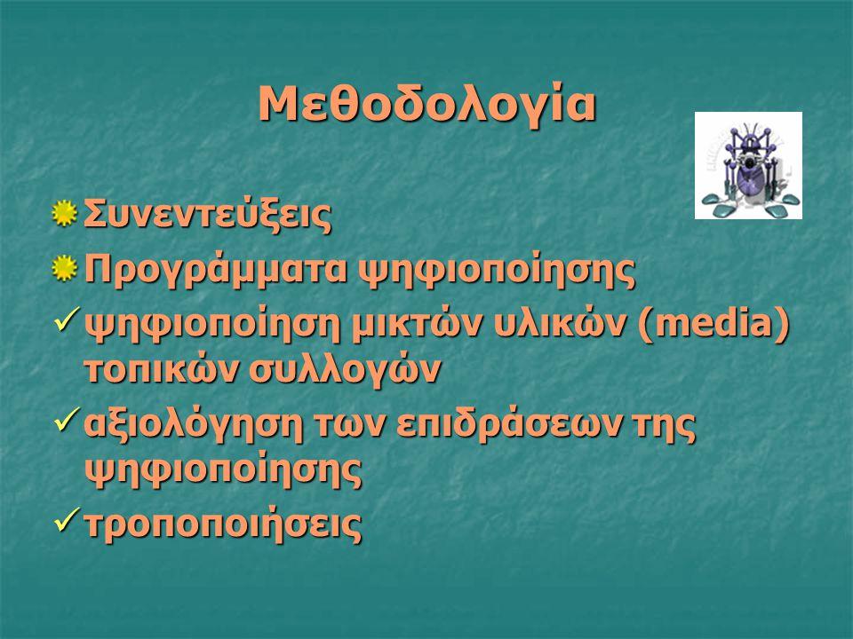 Μεθοδολογία Συνεντεύξεις Προγράμματα ψηφιοποίησης ψηφιοποίηση μικτών υλικών (media) τοπικών συλλογών ψηφιοποίηση μικτών υλικών (media) τοπικών συλλογών αξιολόγηση των επιδράσεων της ψηφιοποίησης αξιολόγηση των επιδράσεων της ψηφιοποίησης τροποποιήσεις τροποποιήσεις