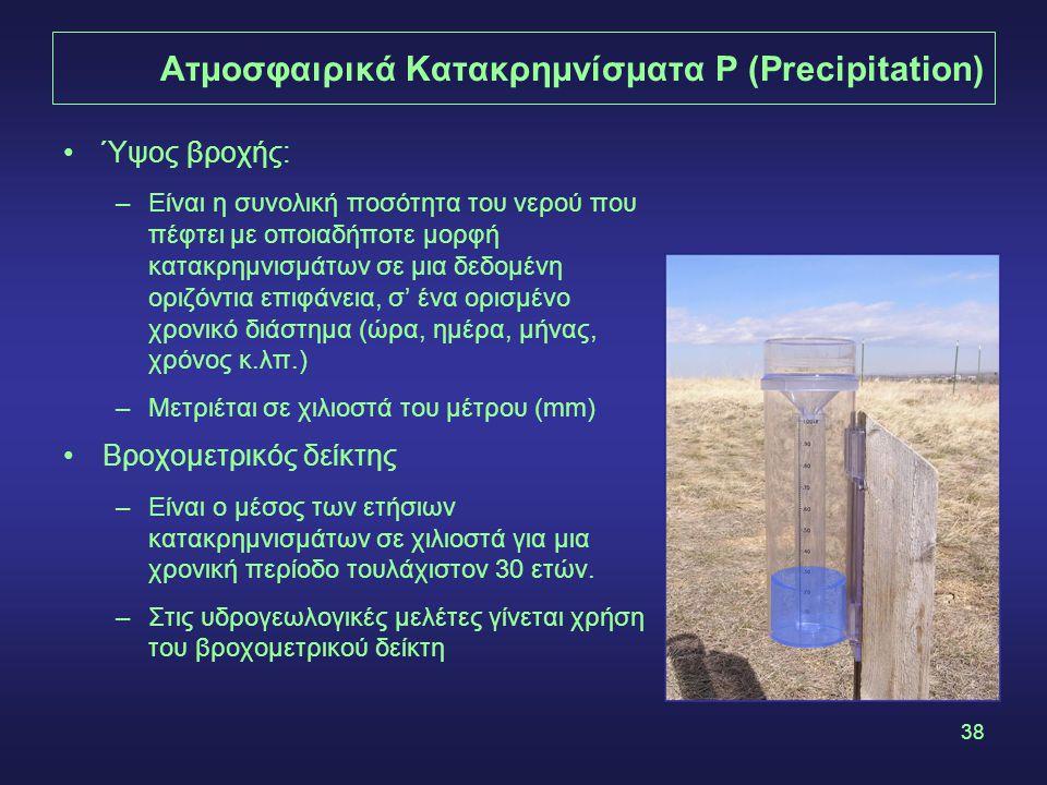 38 Ατμοσφαιρικά Κατακρημνίσματα P (Precipitation) Ύψος βροχής: –Είναι η συνολική ποσότητα του νερού που πέφτει με οποιαδήποτε μορφή κατακρημνισμάτων σε μια δεδομένη οριζόντια επιφάνεια, σ' ένα ορισμένο χρονικό διάστημα (ώρα, ημέρα, μήνας, χρόνος κ.λπ.) –Μετριέται σε χιλιοστά του μέτρου (mm) Βροχομετρικός δείκτης –Είναι ο μέσος των ετήσιων κατακρημνισμάτων σε χιλιοστά για μια χρονική περίοδο τουλάχιστον 30 ετών.