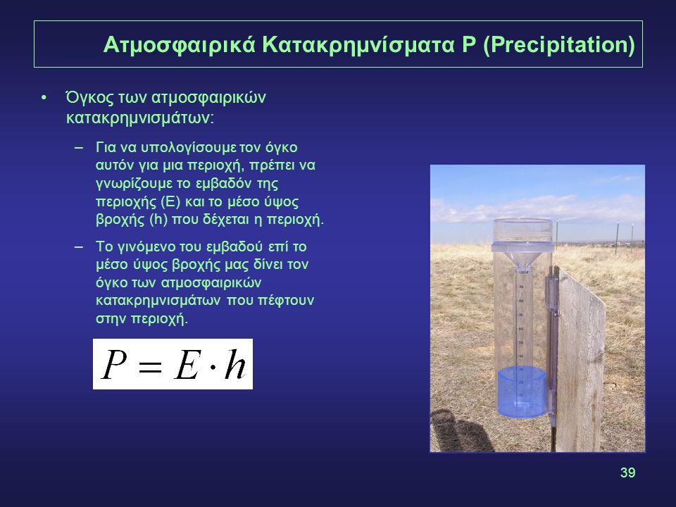 39 Ατμοσφαιρικά Κατακρημνίσματα P (Precipitation) Όγκος των ατμοσφαιρικών κατακρημνισμάτων: –Για να υπολογίσουμε τον όγκο αυτόν για μια περιοχή, πρέπει να γνωρίζουμε το εμβαδόν της περιοχής (Ε) και το μέσο ύψος βροχής (h) που δέχεται η περιοχή.