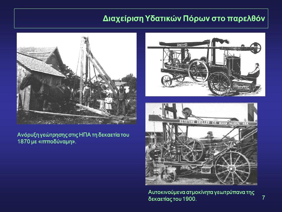 7 Διαχείριση Υδατικών Πόρων στο παρελθόν Ανόρυξη γεώτρησης στις ΗΠΑ τη δεκαετία του 1870 με «ιπποδύναμη».