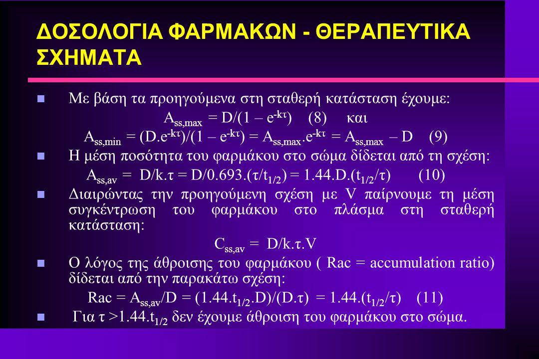 ΔΟΣΟΛΟΓΙΑ ΦΑΡΜΑΚΩΝ - ΘΕΡΑΠΕΥΤΙΚΑ ΣΧΗΜΑΤΑ n Με βάση τα προηγούμενα στη σταθερή κατάσταση έχουμε: A ss,max = D/(1 – e -kτ ) (8) και A ss,min = (D.e -kτ