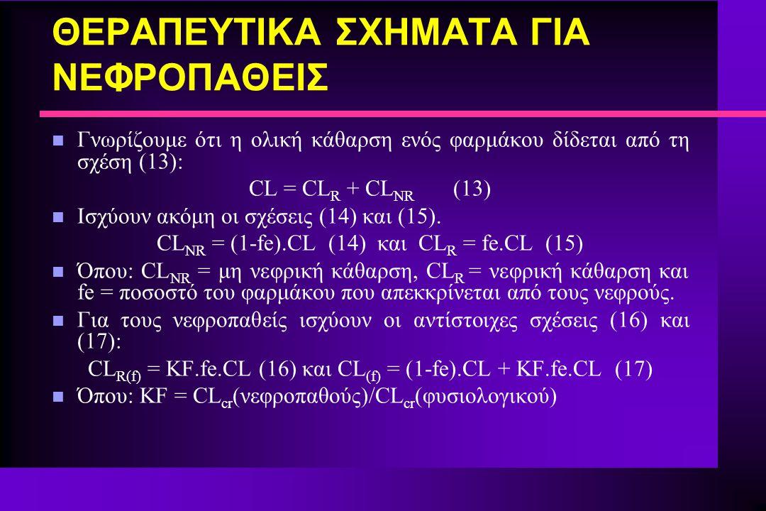 ΘΕΡΑΠΕΥΤΙΚΑ ΣΧΗΜΑΤΑ ΓΙΑ ΝΕΦΡΟΠΑΘΕΙΣ n Γνωρίζουμε ότι η ολική κάθαρση ενός φαρμάκου δίδεται από τη σχέση (13): CL = CL R + CL NR (13) n Ισχύουν ακόμη ο