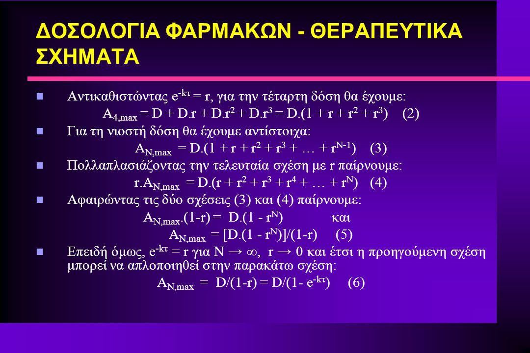 ΔΟΣΟΛΟΓΙΑ ΦΑΡΜΑΚΩΝ - ΘΕΡΑΠΕΥΤΙΚΑ ΣΧΗΜΑΤΑ n Αντικαθιστώντας e -kτ = r, για την τέταρτη δόση θα έχουμε: A 4,max = D + D.r + D.r 2 + D.r 3 = D.(1 + r + r