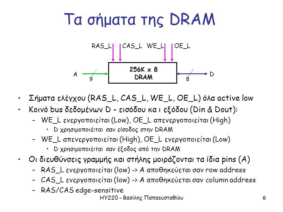 ΗΥ220 - Βασίλης Παπαευσταθίου6 Σήματα ελέγχου (RAS_L, CAS_L, WE_L, OE_L) όλα active low Κοινό bus δεδομένων D - εισόδου κα ι εξόδου (Din & Dout): –WE_L ενεργοποιείται (Low), OE_L απενεργοποιείται (High) D χρησιμοποιέιται σαν είσοδος στην DRAM –WE_L απενεργοποιείται (High), OE_L ενεργοποιείται (Low) D χρησιμοποιέιται σαν έξοδος από την DRAM Οι διευθύνσεις γραμμής και στήλης μοιράζονται τα ίδια pins (A) –RAS_L ενεργοποιείται (low) -> A αποθηκεύεται σαν row address –CAS_L ενεργοποιείται (low) -> A αποθηκεύεται σαν column address –RAS/CAS edge-sensitive A D OE_L 256K x 8 DRAM 98 WE_LCAS_LRAS_L Τα σήματα της DRAM