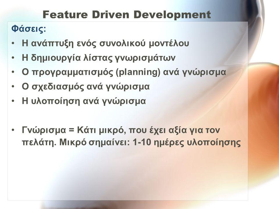 Feature Driven Development Φάσεις: Η ανάπτυξη ενός συνολικού μοντέλου Η δημιουργία λίστας γνωρισμάτων Ο προγραμματισμός (planning) ανά γνώρισμα Ο σχεδ
