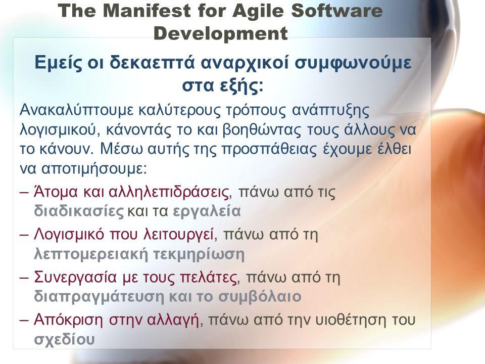 The Manifest for Agile Software Development Εμείς οι δεκαεπτά αναρχικοί συμφωνούμε στα εξής: Ανακαλύπτουμε καλύτερους τρόπους ανάπτυξης λογισμικού, κά