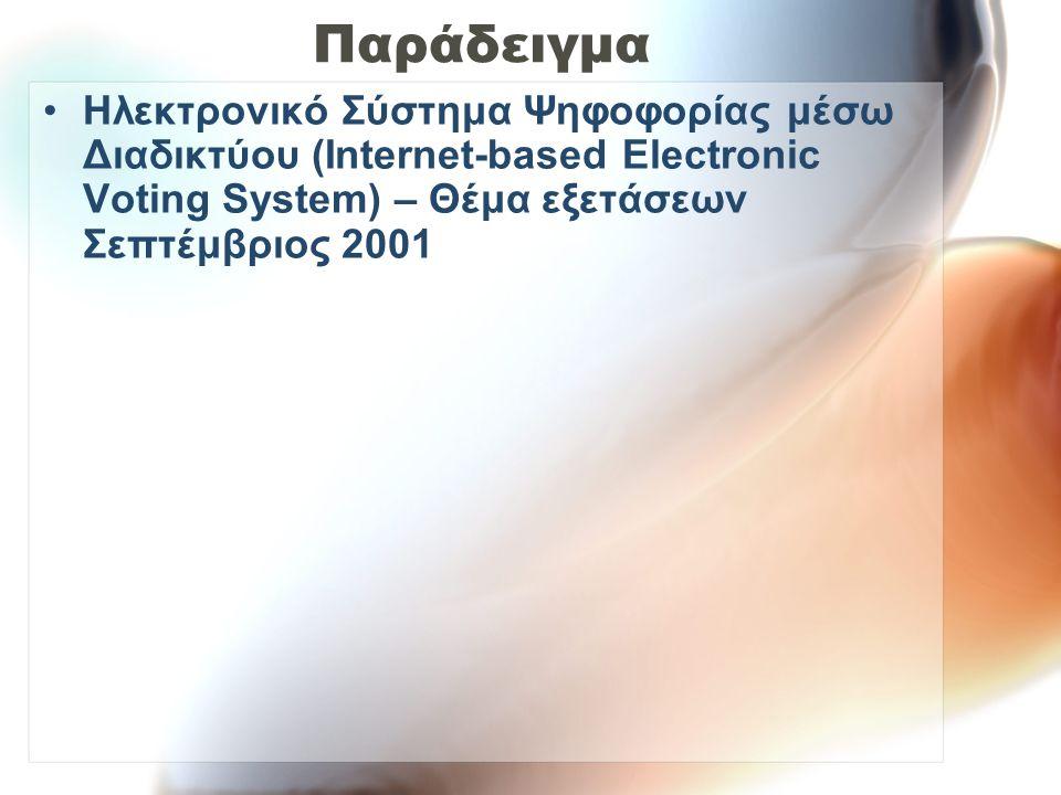 Παράδειγμα Ηλεκτρονικό Σύστημα Ψηφοφορίας μέσω Διαδικτύου (Internet-based Electronic Voting System) – Θέμα εξετάσεων Σεπτέμβριος 2001