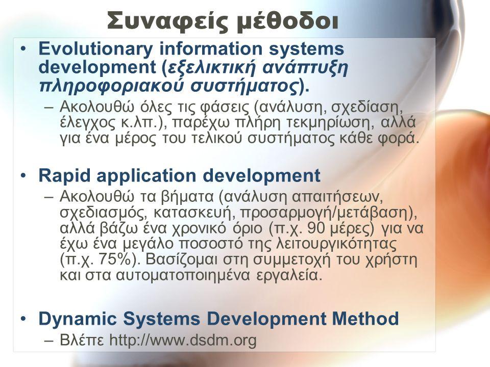 Συναφείς μέθοδοι Evolutionary information systems development (εξελικτική ανάπτυξη πληροφοριακού συστήματος).