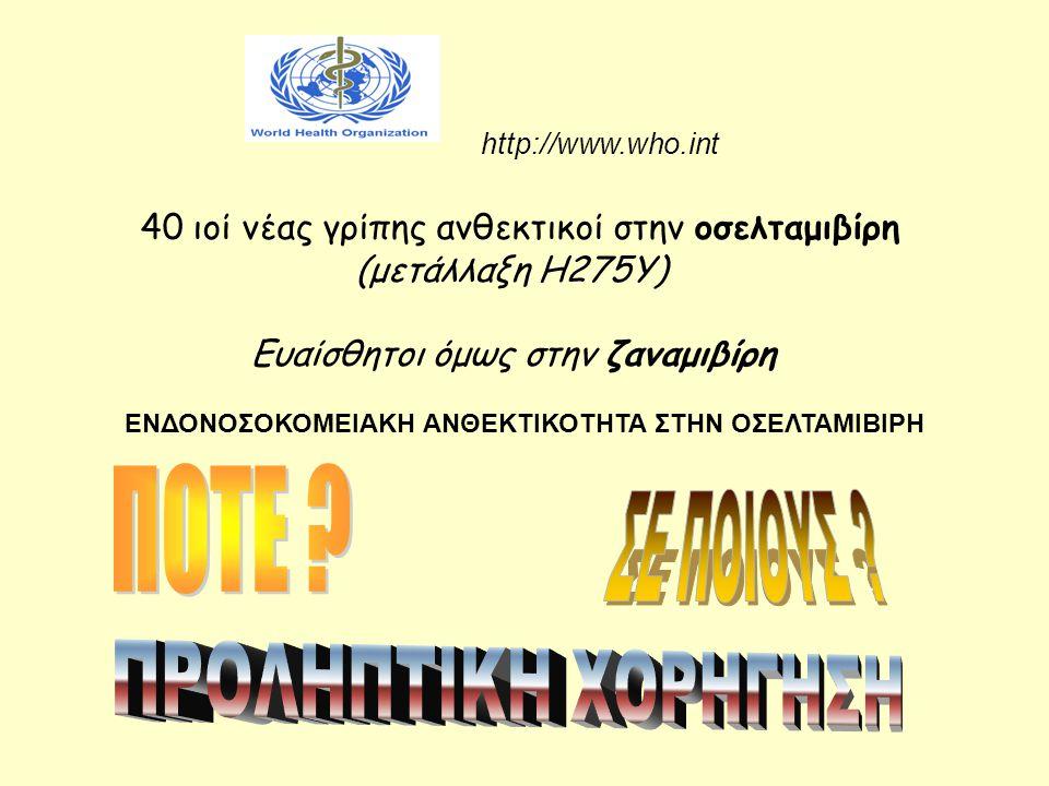 40 ιοί νέας γρίπης ανθεκτικοί στην οσελταμιβίρη (μετάλλαξη Η275Υ) Ευαίσθητοι όμως στην ζαναμιβίρη http://www.who.int ΕΝΔΟΝΟΣΟΚΟΜΕΙΑΚΗ ΑΝΘΕΚΤΙΚΟΤΗΤΑ ΣΤ