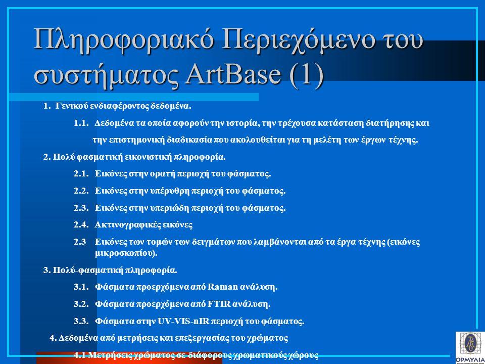 Πληροφοριακό Περιεχόμενο του συστήματος ArtBase (1) 1. Γενικού ενδιαφέροντος δεδομένα. 1.1. Δεδομένα τα οποία αφορούν την ιστορία, την τρέχουσα κατάστ
