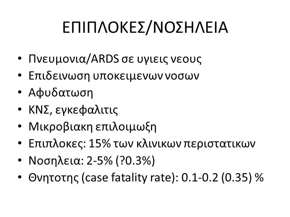 ΕΠΙΠΛΟΚΕΣ/ΝΟΣΗΛΕΙΑ Πνευμονια/ARDS σε υγιεις νεους Επιδεινωση υποκειμενων νοσων Αφυδατωση ΚΝΣ, εγκεφαλιτις Μικροβιακη επιλοιμωξη Επιπλοκες: 15% των κλι