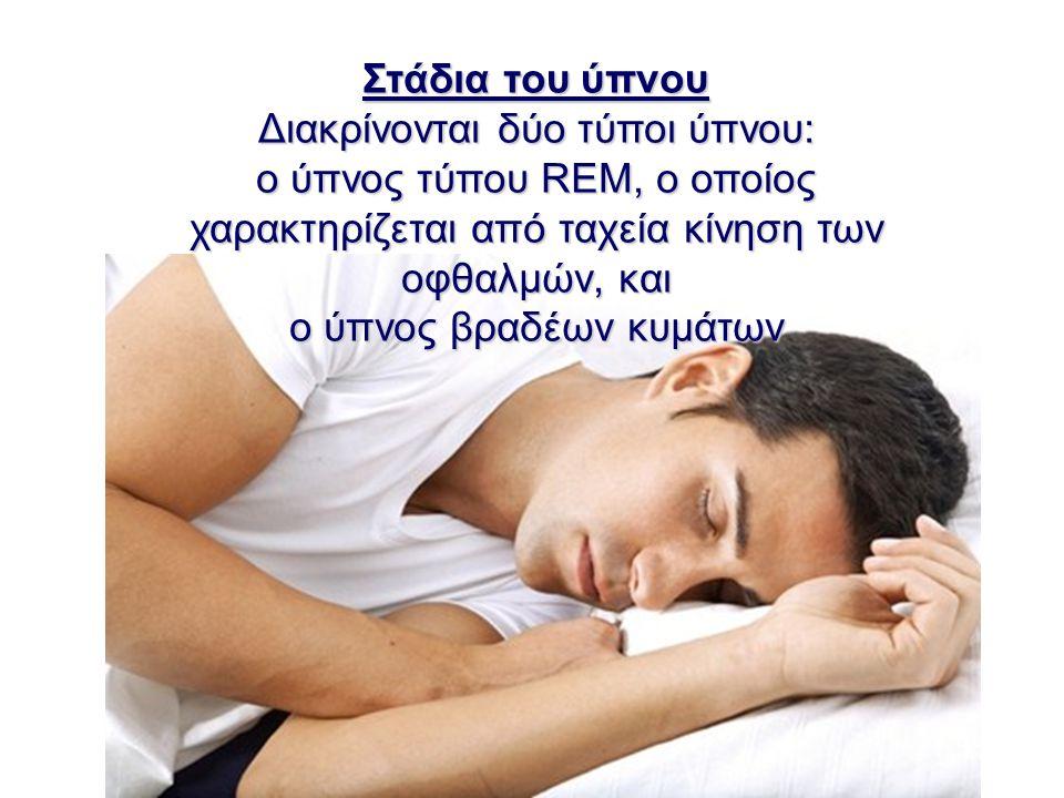 Στάδια του ύπνου Διακρίνονται δύο τύποι ύπνου: ο ύπνος τύπου REM, ο οποίος χαρακτηρίζεται από ταχεία κίνηση των οφθαλμών, και ο ύπνος βραδέων κυμάτων