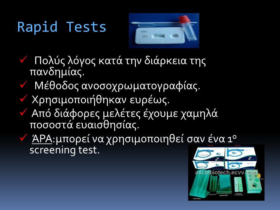 Rapid Tests Πολύς λόγος κατά την διάρκεια της πανδημίας. Μέθοδος ανοσοχρωματογραφίας. Χρησιμοποιήθηκαν ευρέως. Από διάφορες μελέτες έχουμε χαμηλά ποσο