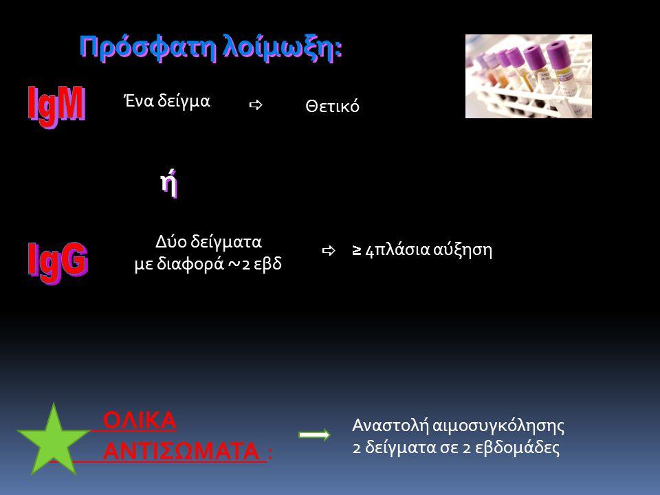 Πρόσφ. λοίμ. Ένα δείγμα Δύο δείγματα με διαφορά ~ 2 εβδ ΟΛΙΚΑ ΑΝΤΙΣΩΜΑΤΑ : Πρόσφατη λοίμωξη: ή ή   Θετικό ≥ 4πλάσια αύξηση Αναστολή αιμοσυγκόλησης 2