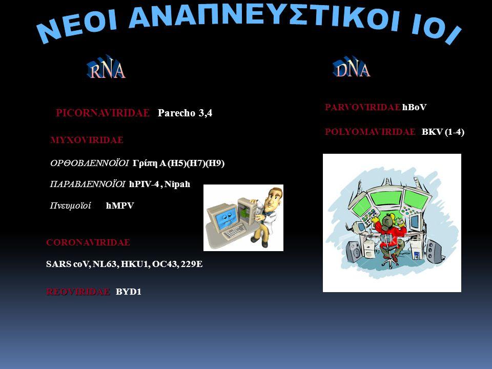 PICORNAVIRIDAE PICORNAVIRIDAE Parecho 3,4 POLYOMAVIRIDAE POLYOMAVIRIDAE BKV (1-4) PARVOVIRIDAE PARVOVIRIDAE hBoV MYXOVIRIDAE ΟΡΘΟΒΛΕΝΝΟΪΟΙ Γρίπη Α (Η5