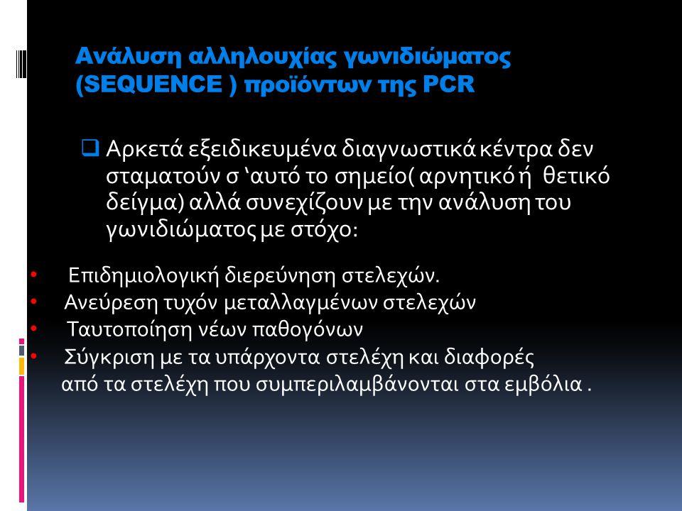 Ανάλυση αλληλουχίας γωνιδιώματος (SEQUENCE ) προϊόντων της PCR α pp  Αρκετά εξειδικευμένα διαγνωστικά κέντρα δεν σταματούν σ 'αυτό το σημείο( αρνητικ