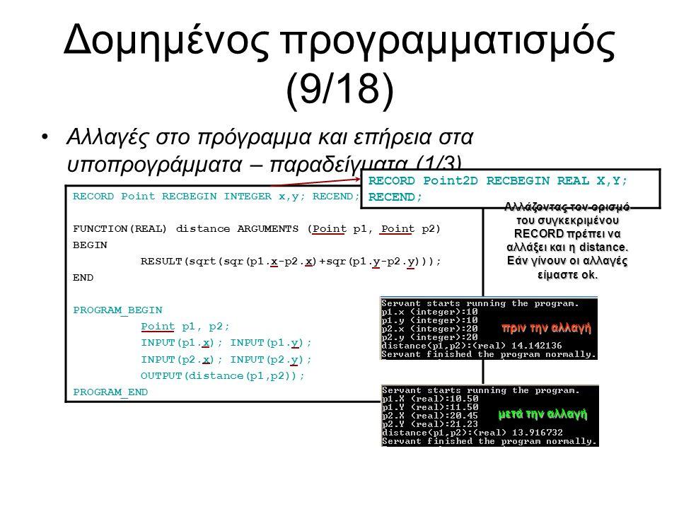Δομημένος προγραμματισμός (9/18) Αλλαγές στο πρόγραμμα και επήρεια στα υποπρογράμματα – παραδείγματα (1/3) RECORD Point RECBEGIN INTEGER x,y; RECEND; FUNCTION(REAL) distance ARGUMENTS (Point p1, Point p2) BEGIN RESULT(sqrt(sqr(p1.x-p2.x)+sqr(p1.y-p2.y))); END PROGRAM_BEGIN Point p1, p2; INPUT(p1.x); INPUT(p1.y); INPUT(p2.x); INPUT(p2.y); OUTPUT(distance(p1,p2)); PROGRAM_END RECORD Point2D RECBEGIN REAL X,Y; RECEND; Αλλάζοντας τον ορισμό του συγκεκριμένου RECORD πρέπει να αλλάξει και η distance.