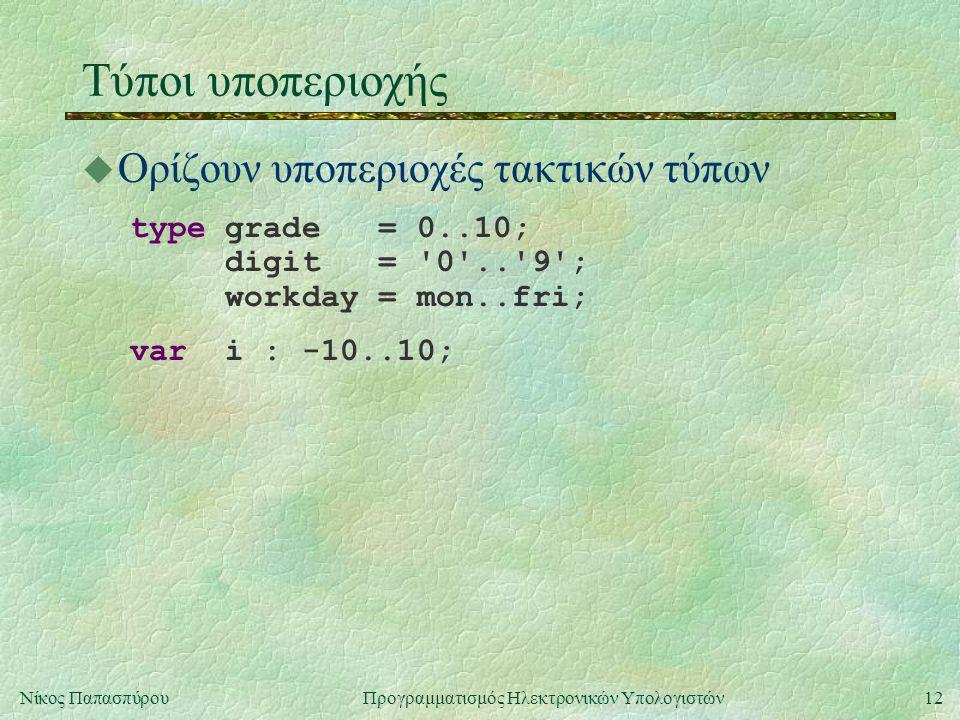 12Νίκος Παπασπύρου Προγραμματισμός Ηλεκτρονικών Υπολογιστών Τύποι υποπεριοχής u Ορίζουν υποπεριοχές τακτικών τύπων type grade = 0..10; digit = '0'..'9