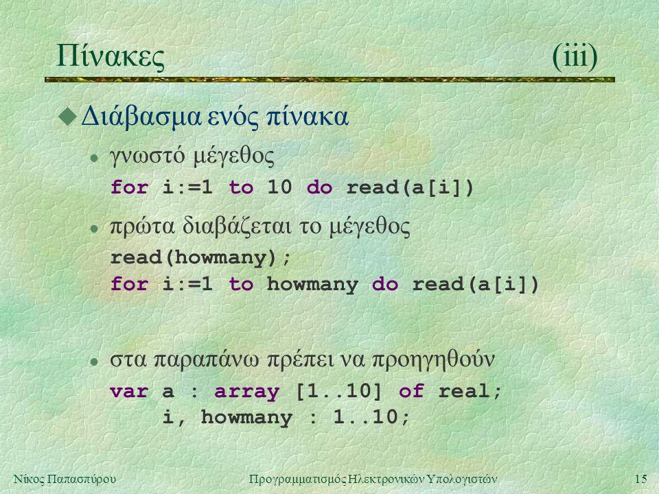 15Νίκος Παπασπύρου Προγραμματισμός Ηλεκτρονικών Υπολογιστών Πίνακες(iii) u Διάβασμα ενός πίνακα l γνωστό μέγεθος for i:=1 to 10 do read(a[i]) l πρώτα