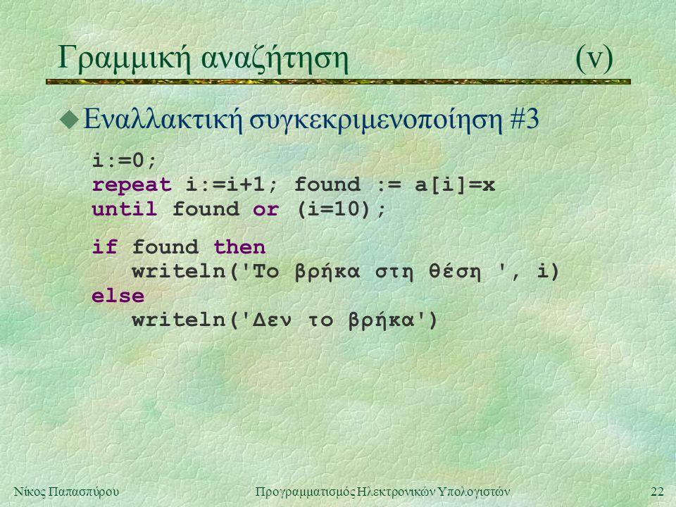 22Νίκος Παπασπύρου Προγραμματισμός Ηλεκτρονικών Υπολογιστών Γραμμική αναζήτηση(v) u Εναλλακτική συγκεκριμενοποίηση #3 i:=0; repeat i:=i+1; found := a[