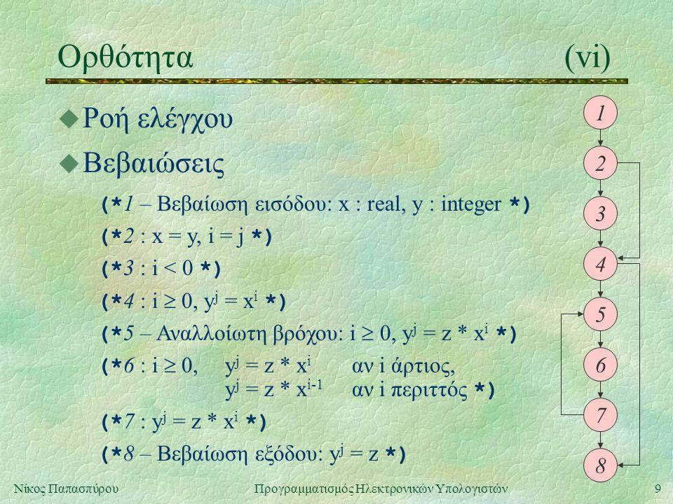 9Νίκος Παπασπύρου Προγραμματισμός Ηλεκτρονικών Υπολογιστών Ορθότητα(vi) u Ροή ελέγχου 1 2 3 4 5 6 7 8 u Βεβαιώσεις (* 1 – Βεβαίωση εισόδου: x : real,