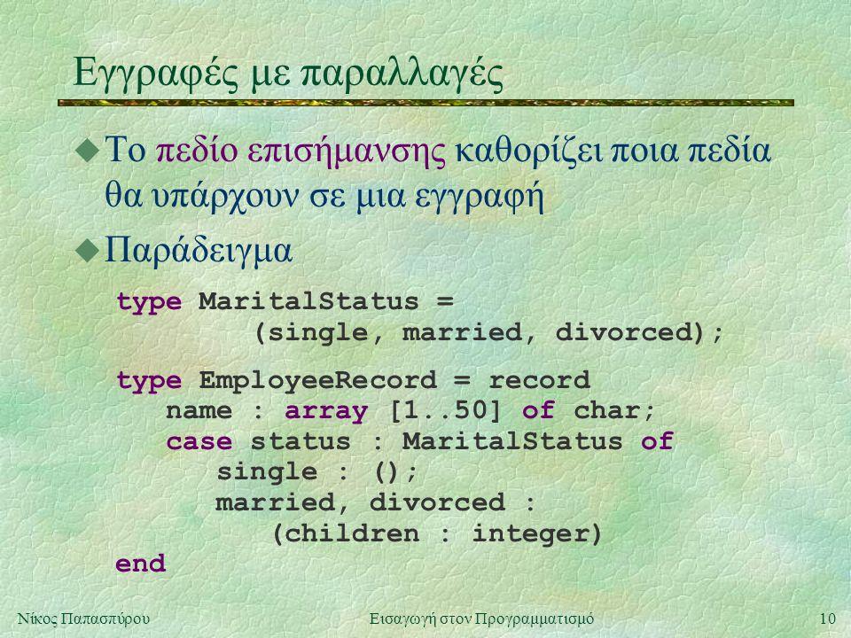 10Νίκος Παπασπύρου Εισαγωγή στον Προγραμματισμό Εγγραφές με παραλλαγές u Το πεδίο επισήμανσης καθορίζει ποια πεδία θα υπάρχουν σε μια εγγραφή u Παράδειγμα type MaritalStatus = (single, married, divorced); type EmployeeRecord = record name : array [1..50] of char; case status : MaritalStatus of single : (); married, divorced : (children : integer) end