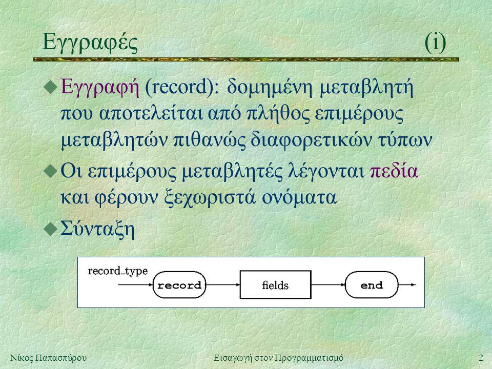 2Νίκος Παπασπύρου Εισαγωγή στον Προγραμματισμό Εγγραφές(i) u Εγγραφή (record): δομημένη μεταβλητή που αποτελείται από πλήθος επιμέρους μεταβλητών πιθανώς διαφορετικών τύπων u Οι επιμέρους μεταβλητές λέγονται πεδία και φέρουν ξεχωριστά ονόματα u Σύνταξη