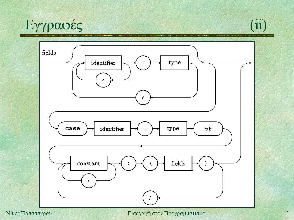 3Νίκος Παπασπύρου Εισαγωγή στον Προγραμματισμό Εγγραφές(ii)