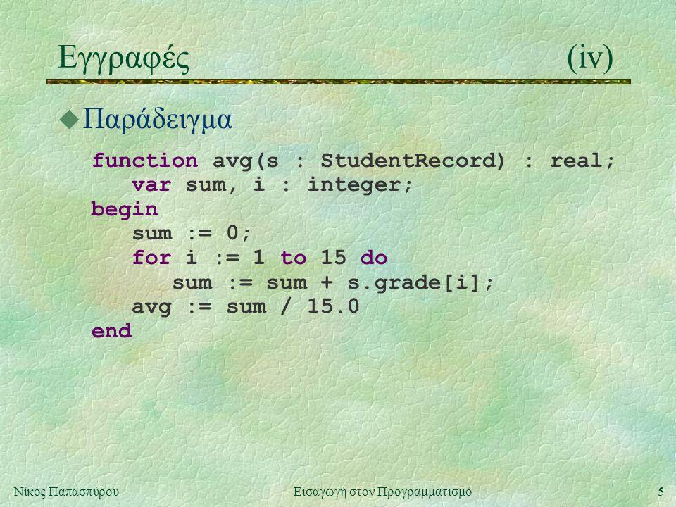 5Νίκος Παπασπύρου Εισαγωγή στον Προγραμματισμό Εγγραφές(iv) u Παράδειγμα function avg(s : StudentRecord) : real; var sum, i : integer; begin sum := 0; for i := 1 to 15 do sum := sum + s.grade[i]; avg := sum / 15.0 end
