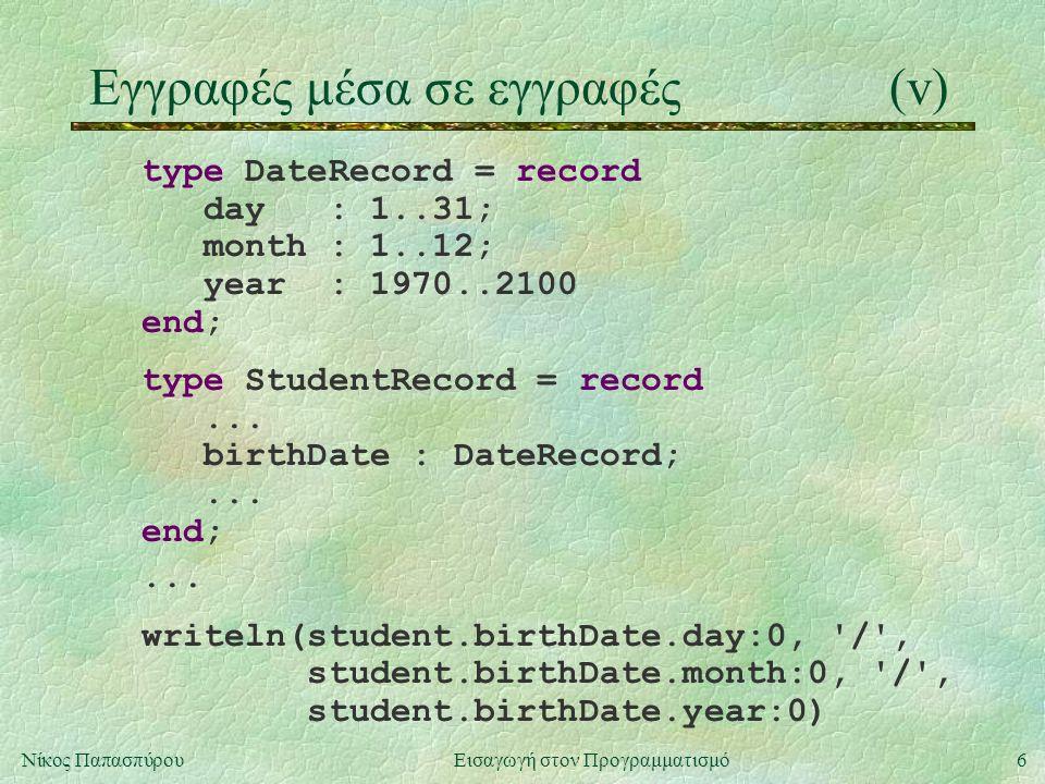 6Νίκος Παπασπύρου Εισαγωγή στον Προγραμματισμό Εγγραφές μέσα σε εγγραφές(v) type DateRecord = record day : 1..31; month : 1..12; year : 1970..2100 end; type StudentRecord = record...