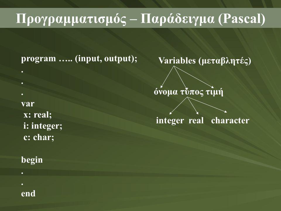 Προγραμματισμός – Παράδειγμα (Pascal) program ….. (input, output);. var x: real; i: integer; c: char; begin. end Variables (μεταβλητές) όνομα τύπος τι