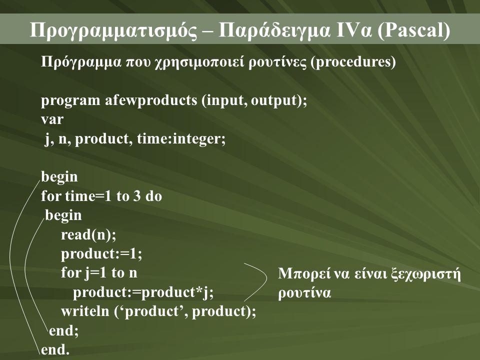 Προγραμματισμός – Παράδειγμα ΙVα (Pascal) Πρόγραμμα που χρησιμοποιεί ρουτίνες (procedures) program afewproducts (input, output); var j, n, product, ti