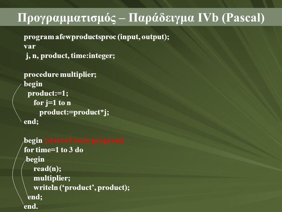 Προγραμματισμός – Παράδειγμα ΙVb (Pascal) program afewproductsproc (input, output); var j, n, product, time:integer; procedure multiplier; begin produ