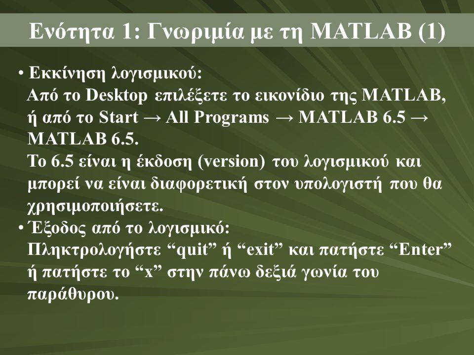 Ενότητα 1: Γνωριμία με τη MATLAB (1) Εκκίνηση λογισμικού: Από το Desktop επιλέξετε το εικονίδιο της MATLAB, ή από το Start → All Programs → MATLAB 6.5