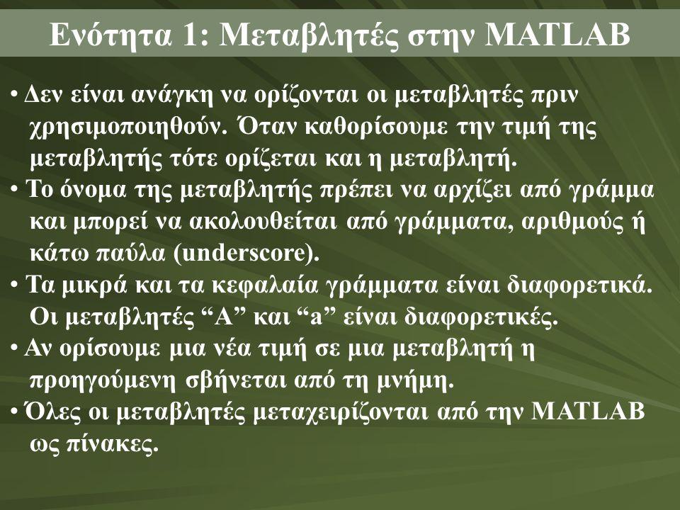 Ενότητα 1: Μεταβλητές στην MATLAB Δεν είναι ανάγκη να ορίζονται οι μεταβλητές πριν χρησιμοποιηθούν. Όταν καθορίσουμε την τιμή της μεταβλητής τότε ορίζ
