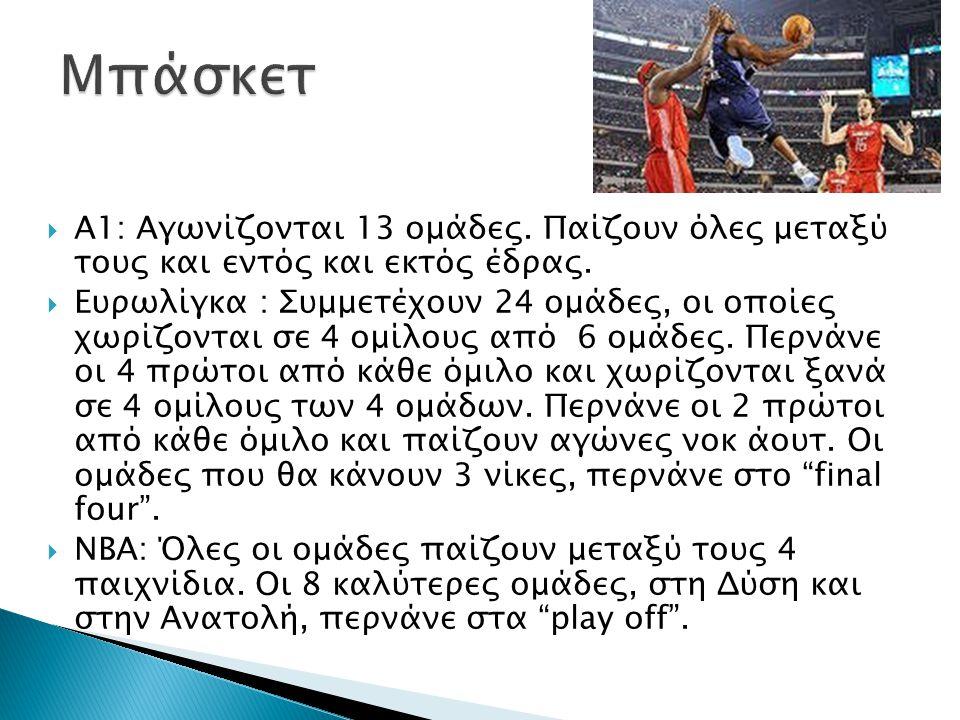  Α1: Αγωνίζονται 13 ομάδες. Παίζουν όλες μεταξύ τους και εντός και εκτός έδρας.  Ευρωλίγκα : Συμμετέχουν 24 ομάδες, οι οποίες χωρίζονται σε 4 ομίλου