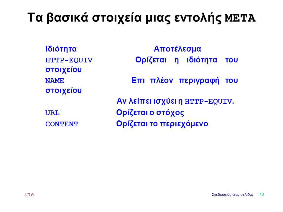Δ.Π.Θ. Σχεδιασμός μιας σελίδας - 10 Τα βασικά στοιχεία μιας εντολής META Ιδιότητα Αποτέλεσμα HTTP-EQUIV Ορίζεται η ιδιότητα του στοιχείου NAME Επι πλέ