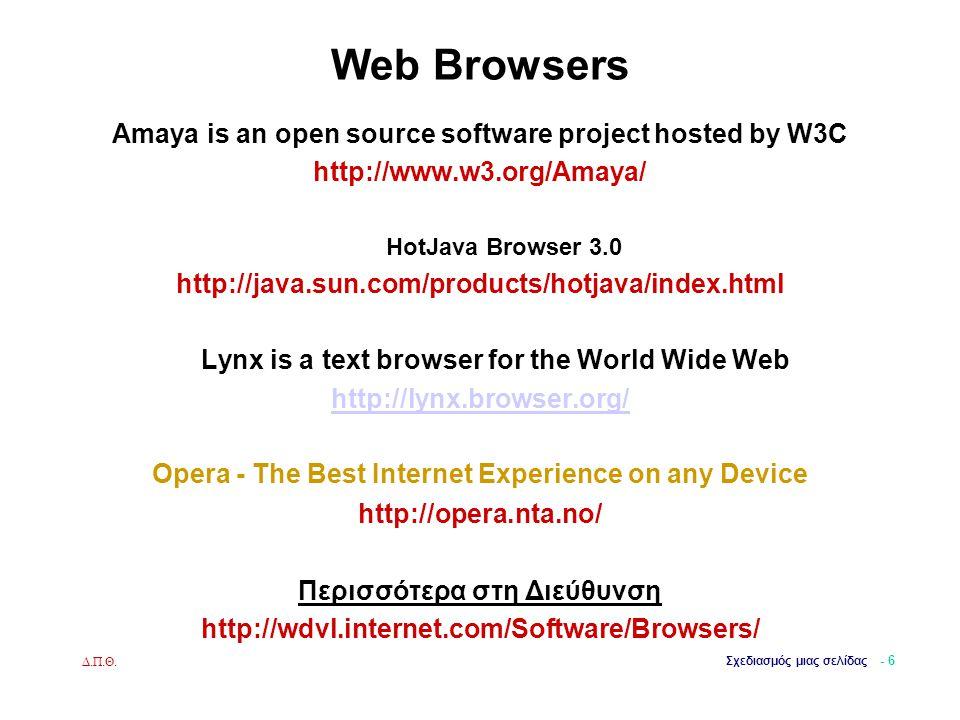 Δ.Π.Θ. Σχεδιασμός μιας σελίδας - 6 Web Browsers Amaya is an open source software project hosted by W3C http://www.w3.org/Amaya/ HotJava Browser 3.0 ht