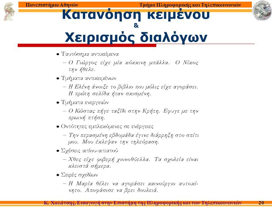 Τμήμα Πληροφορικής και Τηλεπικοινωνιών Κ. Χαλάτσης, Εισαγωγή στην Επιστήμη της Πληροφορικής και των Τηλεπικοινωνιών Πανεπιστήμιο Αθηνών 20 Κατανόηση κ