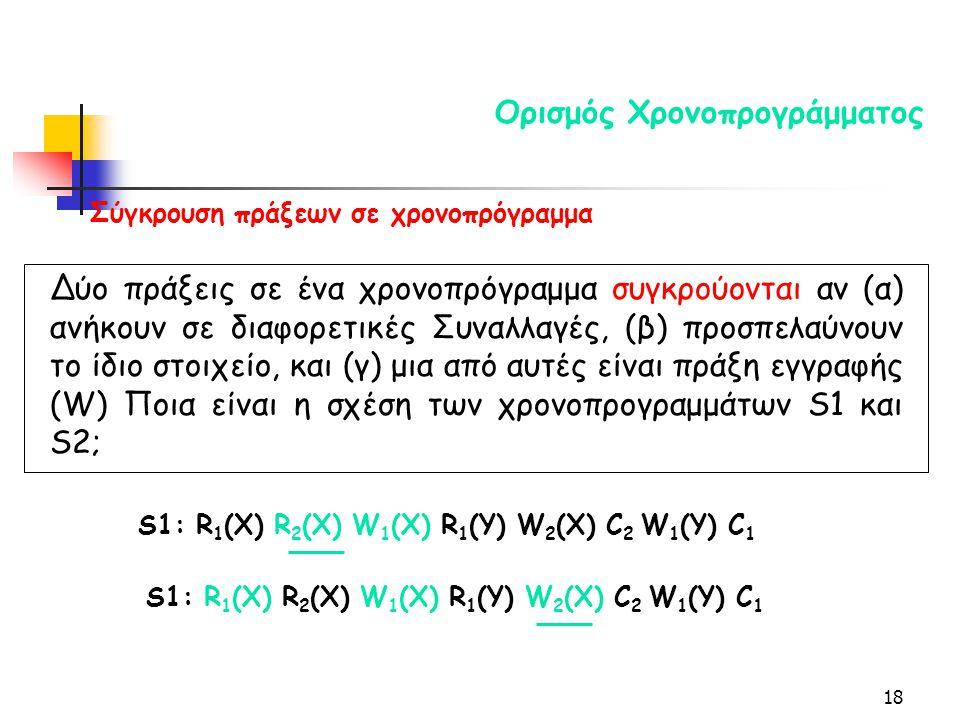 18 Ορισμός Χρονοπρογράμματος S1: R 1 (X) R 2 (X) W 1 (X) R 1 (Y) W 2 (X) C 2 W 1 (Y) C 1 Σύγκρουση πράξεων σε χρονοπρόγραμμα Δύο πράξεις σε ένα χρονοπρόγραμμα συγκρούονται αν (α) ανήκουν σε διαφορετικές Συναλλαγές, (β) προσπελαύνουν το ίδιο στοιχείο, και (γ) μια από αυτές είναι πράξη εγγραφής (W) Ποια είναι η σχέση των χρονοπρογραμμάτων S1 και S2; S1: R 1 (X) R 2 (X) W 1 (X) R 1 (Y) W 2 (X) C 2 W 1 (Y) C 1