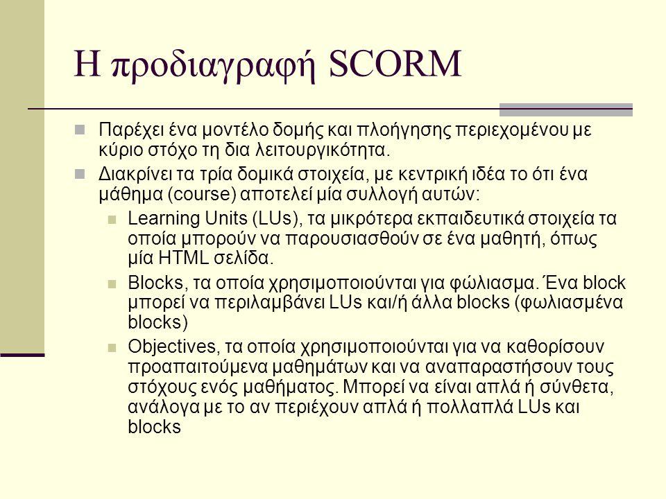 Η προδιαγραφή SCORM Παρέχει ένα μοντέλο δομής και πλοήγησης περιεχομένου με κύριο στόχο τη δια λειτουργικότητα.