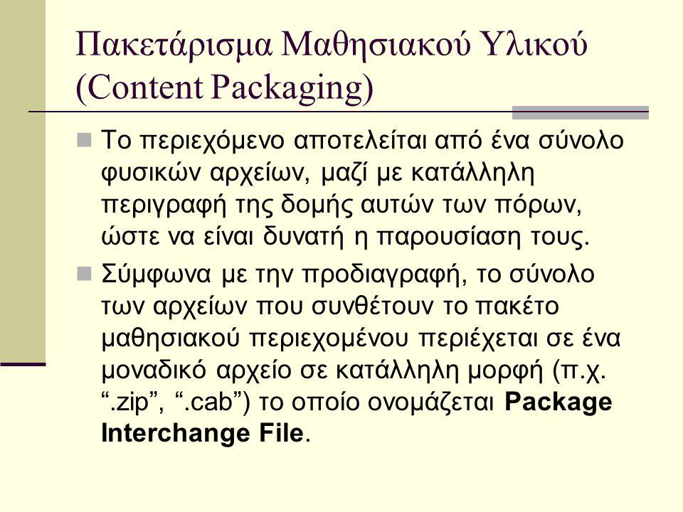 Πακετάρισμα Μαθησιακού Υλικού (Content Packaging) Το περιεχόμενο αποτελείται από ένα σύνολο φυσικών αρχείων, μαζί με κατάλληλη περιγραφή της δομής αυτών των πόρων, ώστε να είναι δυνατή η παρουσίαση τους.
