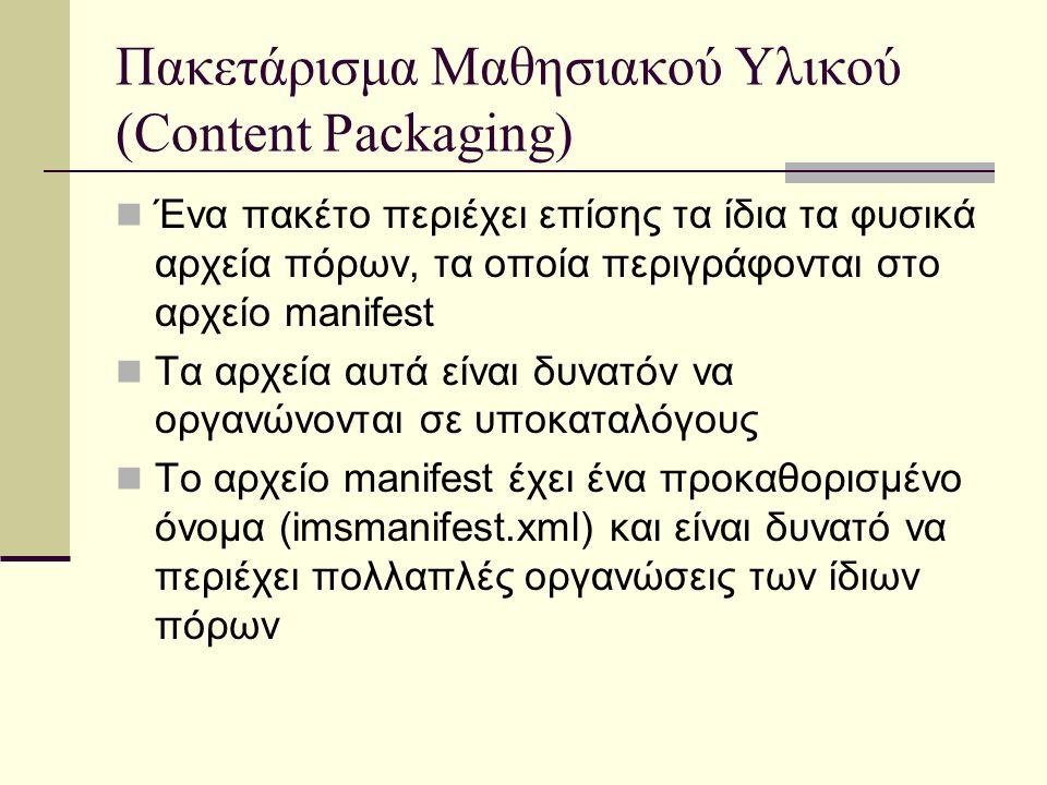 Πακετάρισμα Μαθησιακού Υλικού (Content Packaging) Ένα πακέτο περιέχει επίσης τα ίδια τα φυσικά αρχεία πόρων, τα οποία περιγράφονται στο αρχείο manifest Τα αρχεία αυτά είναι δυνατόν να οργανώνονται σε υποκαταλόγους Το αρχείο manifest έχει ένα προκαθορισμένο όνομα (imsmanifest.xml) και είναι δυνατό να περιέχει πολλαπλές οργανώσεις των ίδιων πόρων